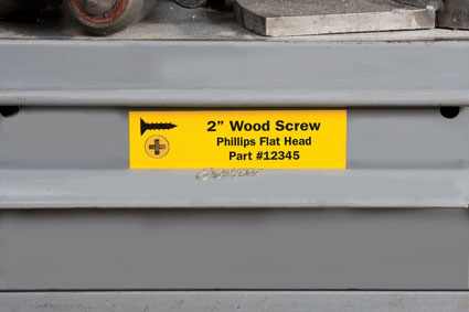 Brady wood screw label