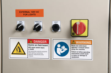 Brady Color Arc Flash Warning Labels